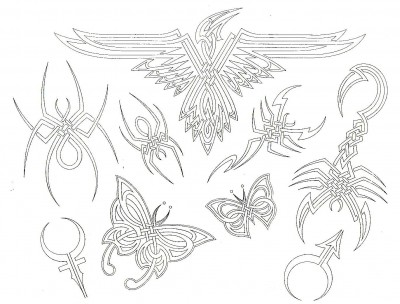 Эскизы татуировок Черри Крейка абрисовка