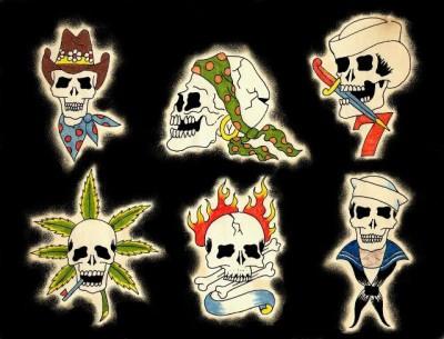 Эскизы татуировок черепов, укуренных, в огне, моряков, в бандане и шляпе