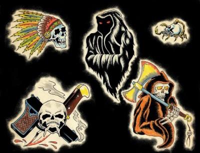 Эскиз татуировки духа, череп-индеец, череп с ножом и пистолетом, смерть с топором, скорпион
