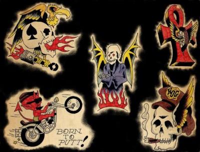 Эскизы мото татуировок череп в огне, череп в кепке, дьявол на мотоцикле, крест с колесом