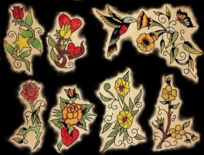 Эскизы тату цветов, розы, розы с шипами и сердцем, тату колибри