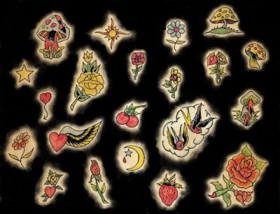 Эскизы тату цветов, эскиз татуировки гриба, клубника, татуировка звезда, месяц