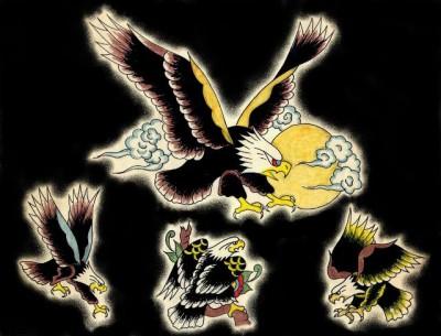 Эскизы, флеши татуировки орла, коршуна, ястреба