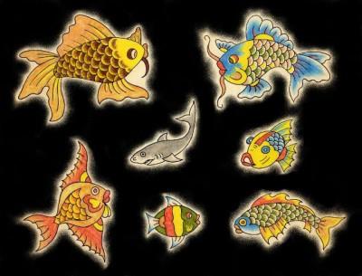 Флешы эскизы татуировки рыбы, эскиз тату акулы