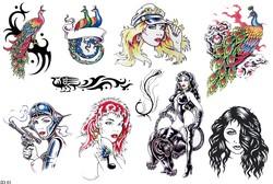 Эскизы татуировок павлина, флеши тату девушек, татуировка девушки с пантерой