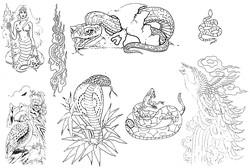 Каталог татуировок - дева-змея, татуировка змеи, кобра, тату павлина, тату птиц