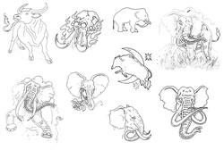 Каталог татуровок - тату буйвола, татуировка зубра, эскиз татуировки слона