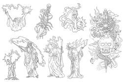 Татуировка мага, нож и скорпион, дракон и нож в большом каталоге татуировок
