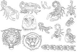 Лист каталога татуировок с тигром, медведем, орлом, картинками татуировки скорпиона