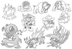 Татуировка бульдога, татуировка дракона - каталог татуировок