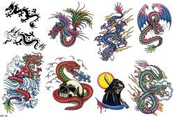 Драконы тату, татуировка змеи, смерть с косой в большом тату каталоге