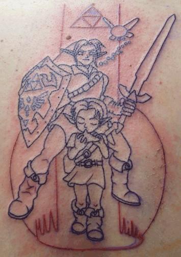 Контуры татуировки закончены