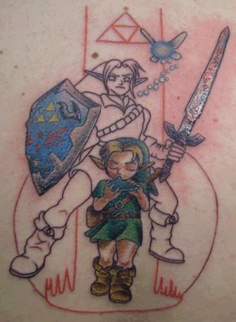 Фотография татуировки щит и меч закончены